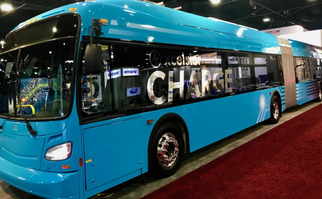A bus on display at the American Public Transportation Association convention in Atlanta in October 2017. Credit: Kelly Jordan