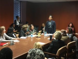 Mayor Keisha Lance Bottoms met with state lawmakers who represent Atlanta, at a Capitol meeting room on Friday. Credit: Maggie Lee