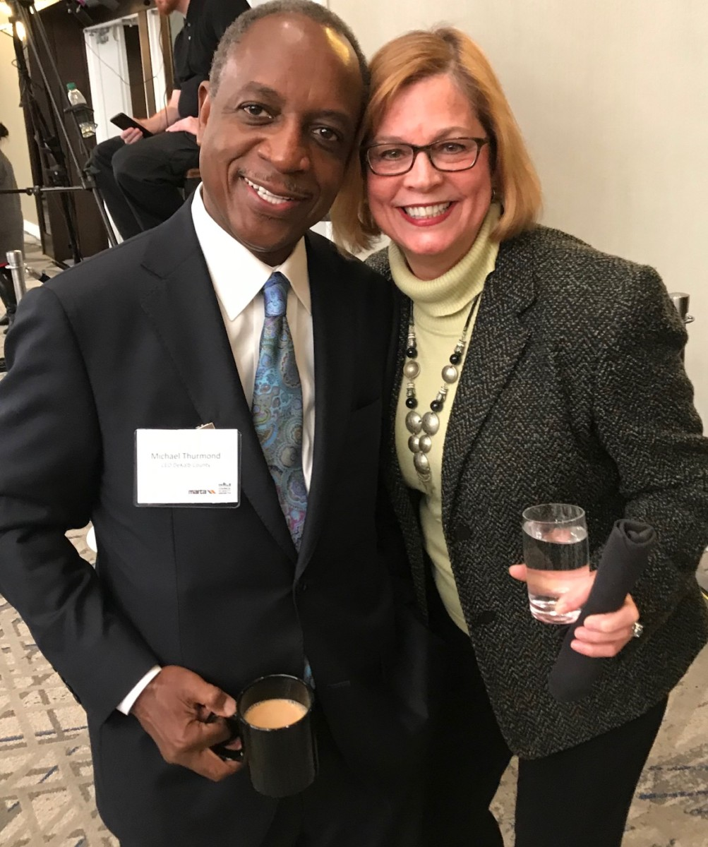 DeKalb CEO Michael Thurmond and Emory Senior Associate Vice President, Government and Community Affairs Betty Willis at the State of MARTA breakfast. Credit: Kelly Jordan