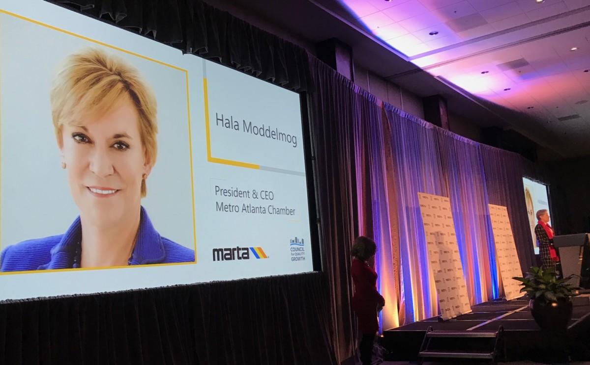 Metro Atlanta Chamber of Commerce President and CEO Hala Moddelmog speaks at the State of MARTA breakfast. Credit: Kelly Jordan