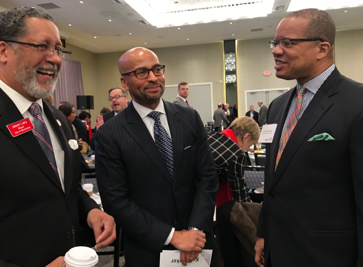 Former MARTA General Manager and CEO Keith Parker (center) chats with Stonecrest Mayor Jason Lary (left) and MARTA Board member Frederick Daniels at the State of MARTA breakfast. Credit: Kelly Jordan
