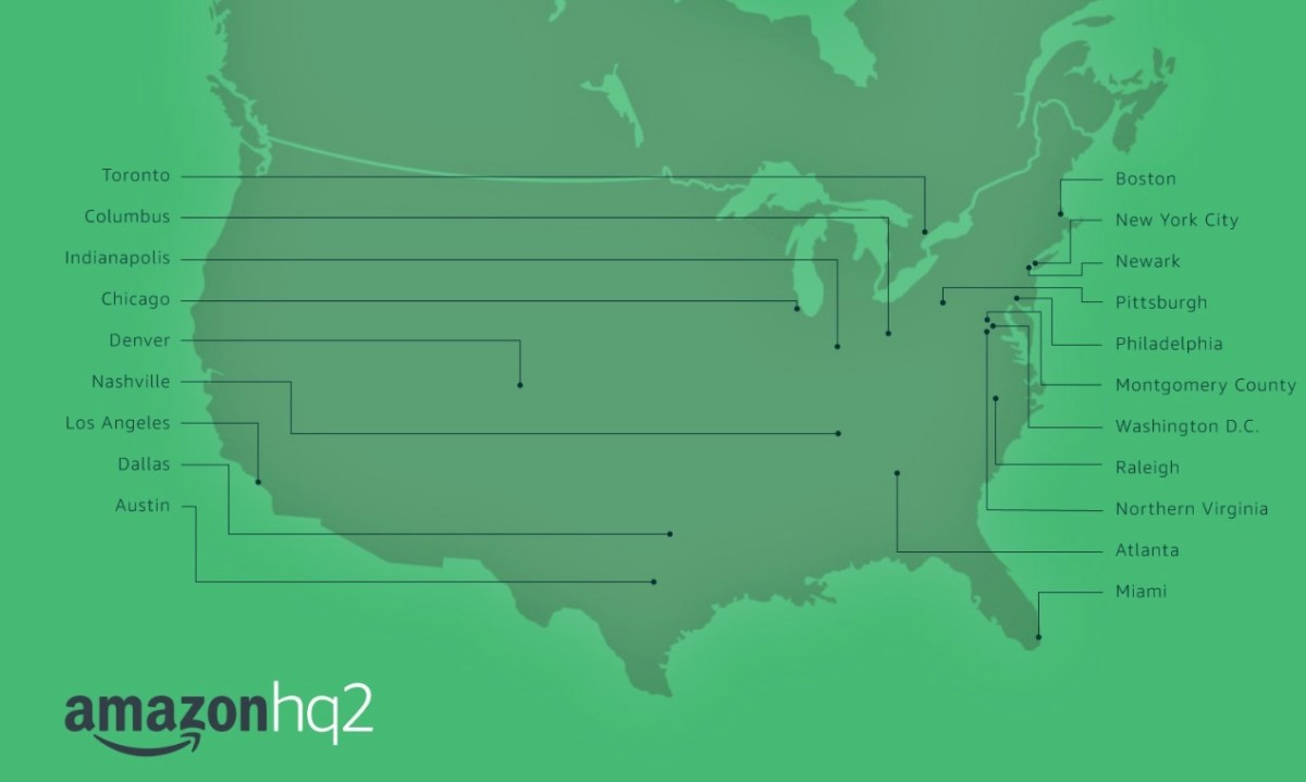 amazon hq2, map