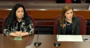 DeKalb County Commissioner Nancy Jester and state Rep. Meagan Hansen at the state Capitol office building on Wednesday, say it's time for DeKalb to get rid of the CEO form of government. Credit: State Senate video broadcast