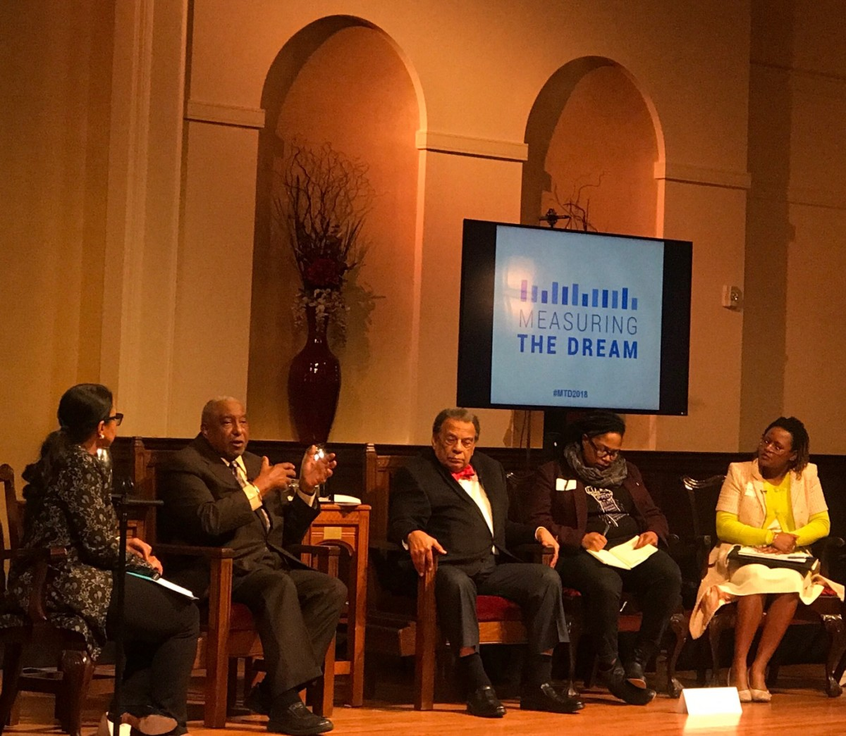Andrea Young (L-R), Bernard Lafayette, Andrew Young, Mary Hooks and Park Cannon at the Measuring the Dream symposium at First Congregational Church of Atlanta on Thursday night. Credit: Kelly Jordan