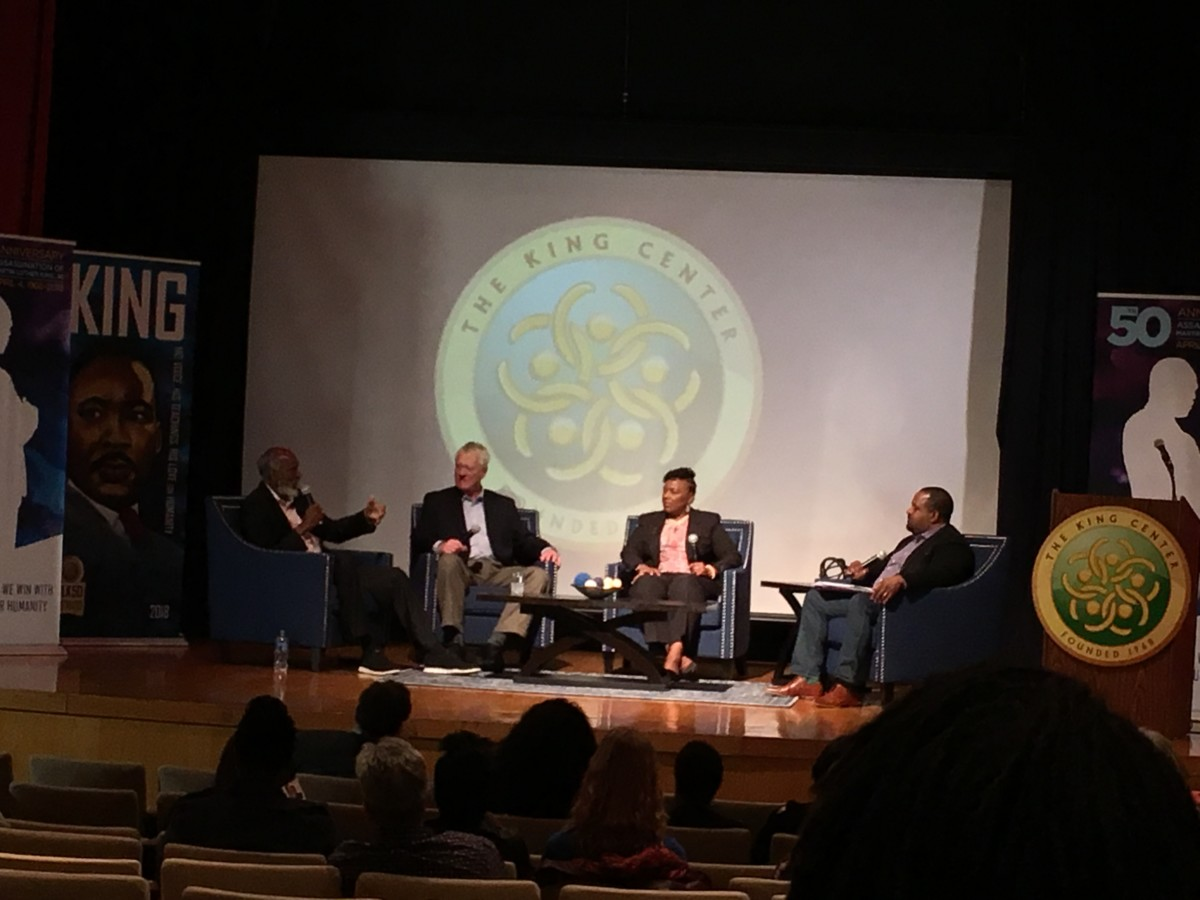 (L-R) john a. powell, George *, Bernice King and * DuBois on stage at the King Center for Nonviolent Change on Thursday night. Credit: Maggie Lee