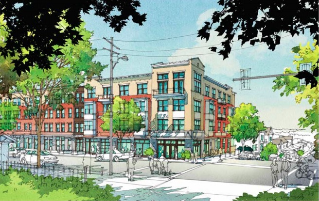 A sketch from the Atlanta Housing Authority shows part of a planned new Vine City development at MLK and Sunset Avenue.