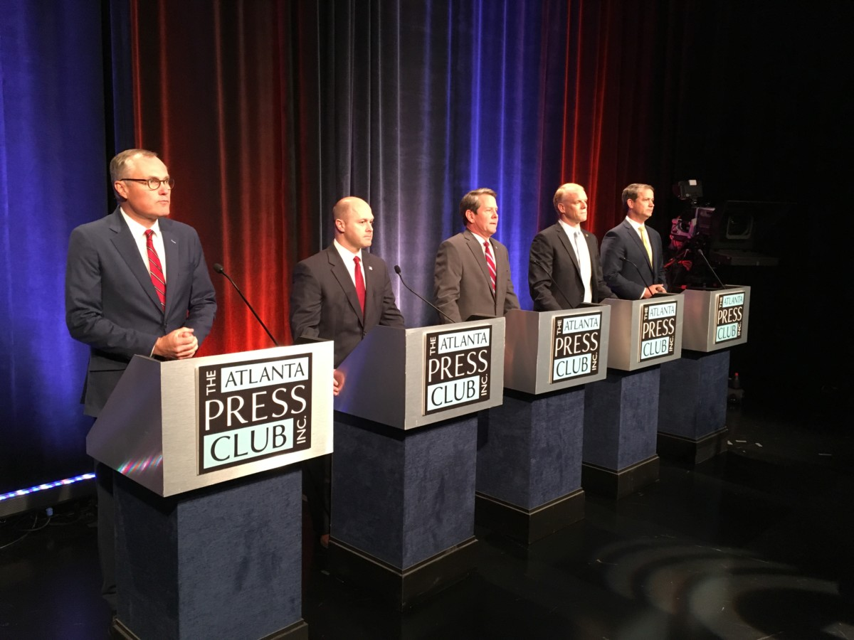 GOP gubernatorial hopefuls at a debate Thursday (l-r): Casey Cagle, Hunter Hill, Brian Kemp, Clay Tippins and Michael Williams. Credit: Maggie Lee