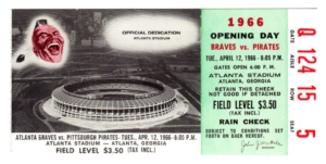 braves, opening day ticket 1966