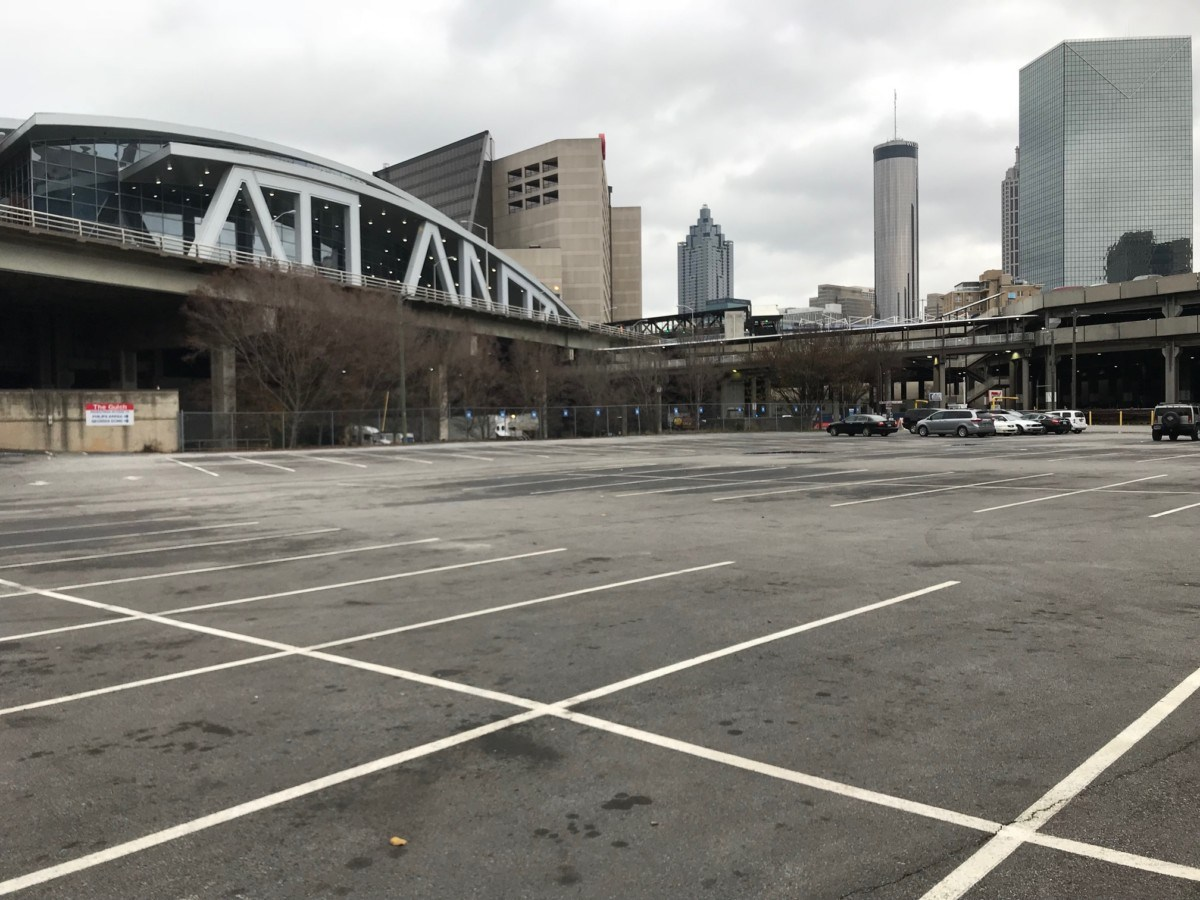 A view from the Gulch of State Farm Arena, one of AFCRA's marquee properties. Credit: Kelly Jordan