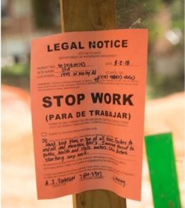 tree ordinance, stop work