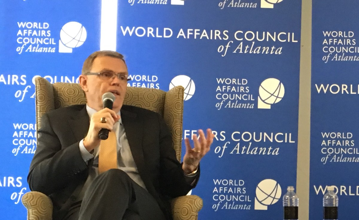 UPS CEO David Abney, in extensive comments Wednesday about trade, said he's hopeful the U.S. and China can come to some negotiated agreement to end trade tensions as early as next month. Credit: Maggie Lee