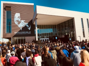 The Martin Luther King, Jr. Recreation and Aquatic Center, pictured here on opening day on Oct. 30, 2017, was paid for in part by Renew. Credit: Kelly Jordan
