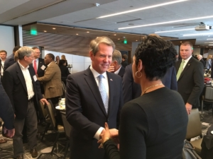 Gov.-elect Brian Kemp greets folks at the Biennial conference in Athens on Tuesday. Credit: Maggie Lee