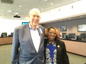 MARTA Board members from Clayton County Jerry Griffin and Roberta Abdul-Salaam, at agency headquarters on Thursday after a board vote on a rapid transit map for their county. Credit: Maggie Lee