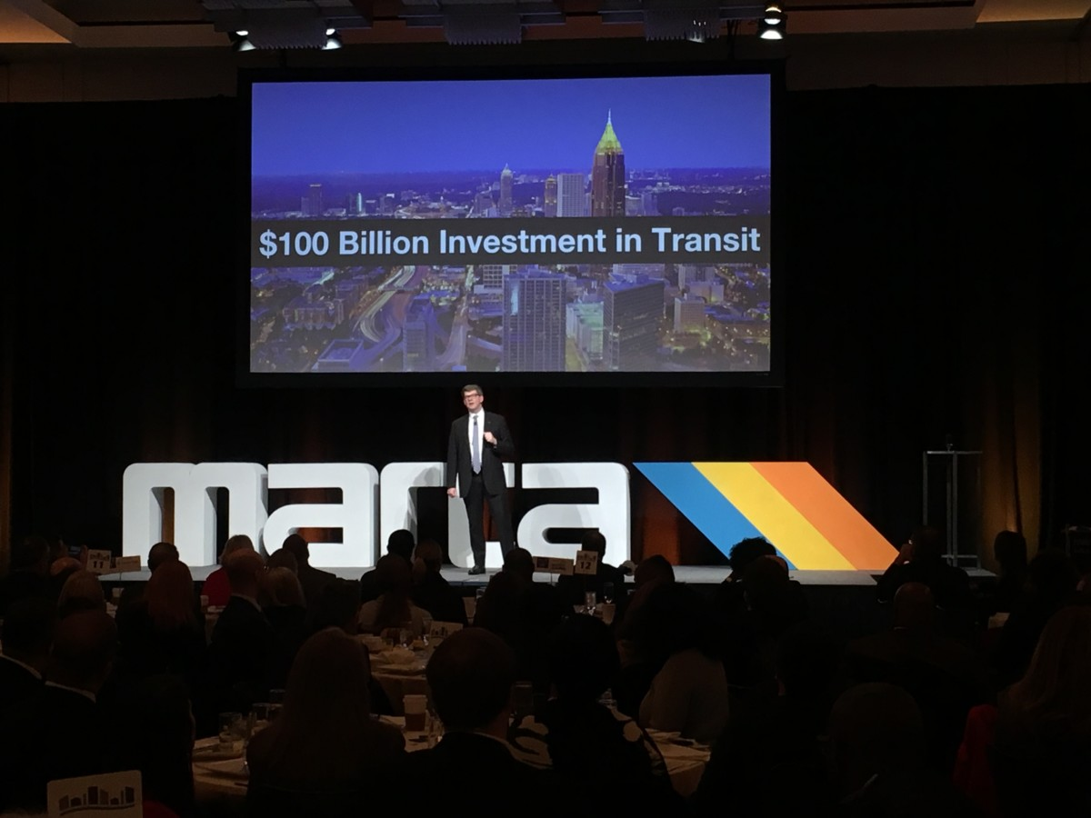 "Jeffrey Parker, general manager and CEO of MARTA, said on Friday at the annual ""State of MARTA"" breakfast that metro Atlanta should spend $100 billion on transit infrastructure and technology over the next 40 years. Credit: Maggie Lee"