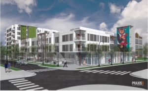 A Praxis3 sketch of an affordable housing development planned for Memorial Drive steps from the BeltLine. Credit: Via Atlanta Housing handout