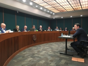State Sen. Burt Jones testifies to the state Senate Transportation Committee on Feb. 26. Credit: Maggie Lee