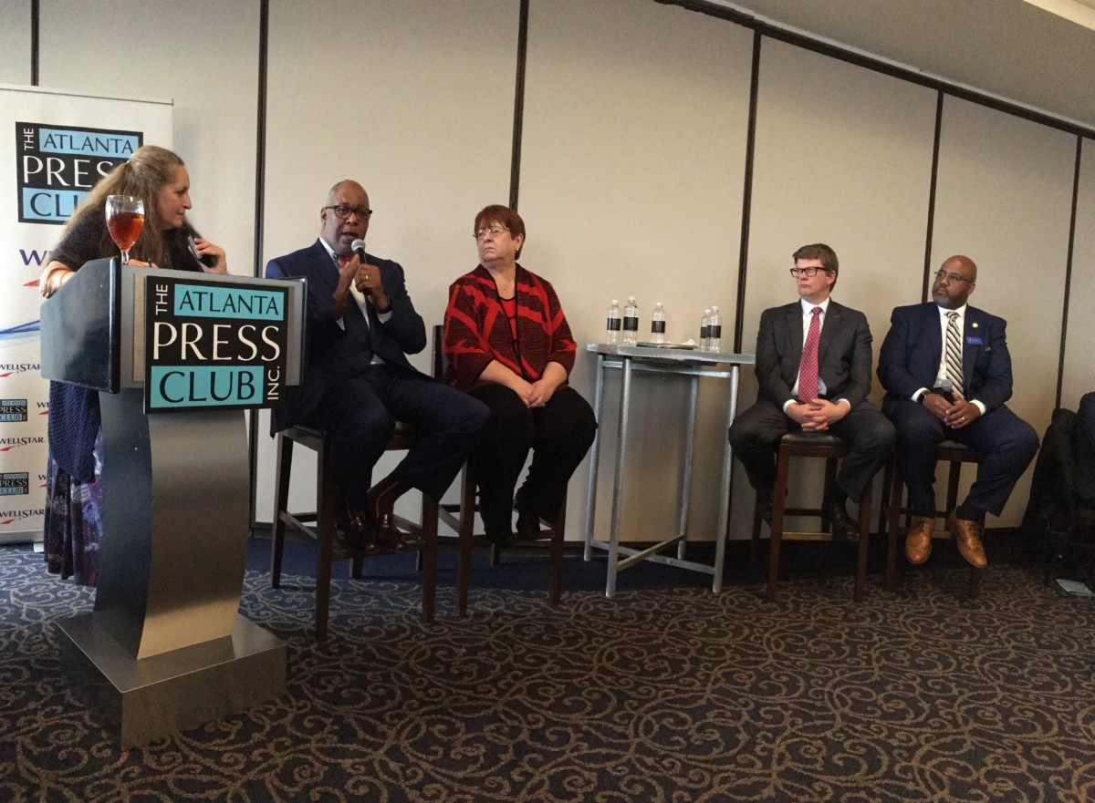 Regional leaders discuss Gwinnett County's vote on joining MARTA, during an Atlanta Press Club forum on Monday. L-R Moderator and reporter Maria Saporta, ARC's Doug Hooker, Gwinnett's Charlotte Nash, MARTA's Jeff Parker and The ATL's Chris Tomlinson. Credit: Maggie Lee