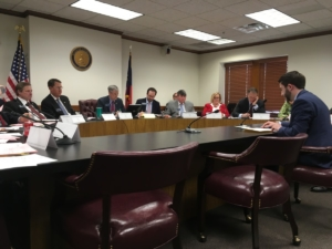 The state Senate Health and Human Services Committee on Monday, hearing state Rep. Houston Gaines, R-Athens, present a bill on legalizing needle exchange programs. Credit: Maggie Lee
