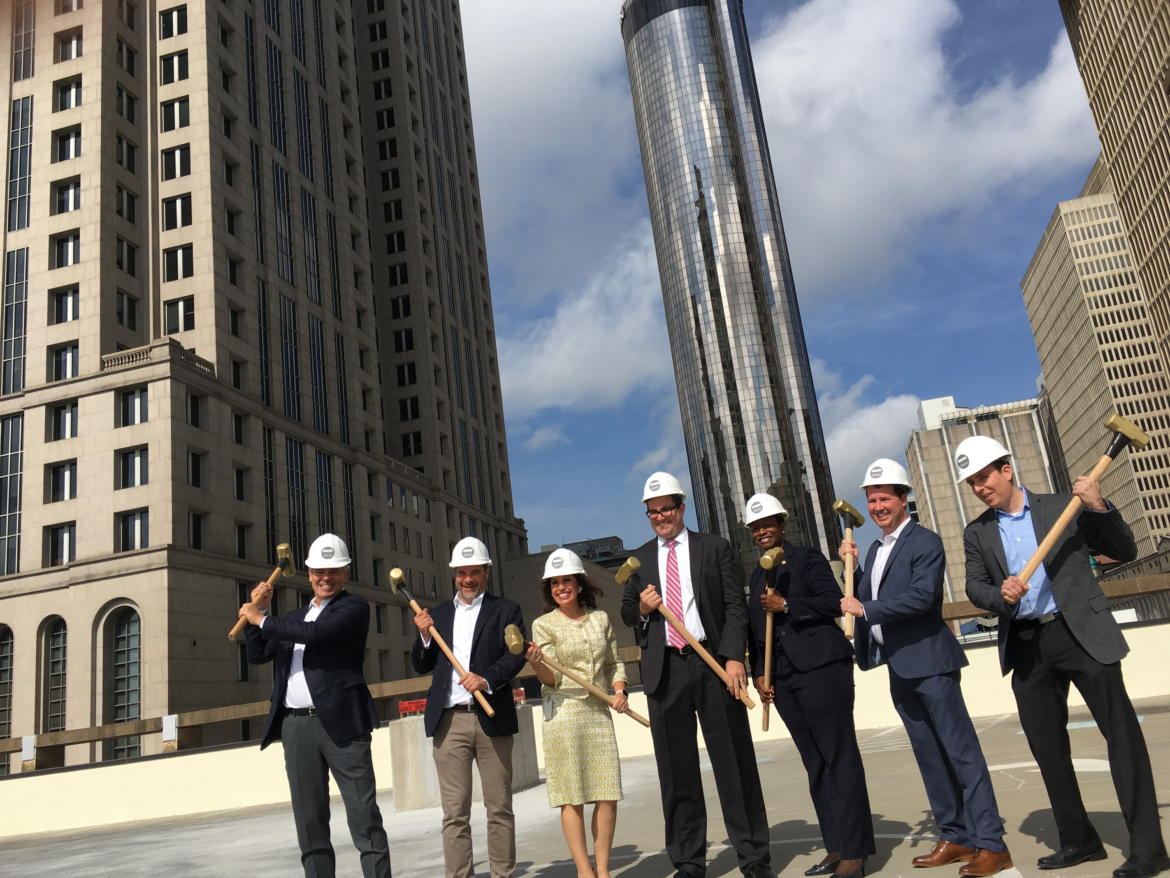 Leaders from the 161 Peachtree Center development team plus the city of Atlanta at the Thursday groundbreaking. Credit: Maggie Lee
