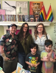 Pictured at the L5P location, (l-r) Charis Circle Executive Director E.R. Anderson, Charis Books co-owner Sara Luce Look, Charis Circle board treasurer Ellen Rapier and her kids Beau and June. Credit: Kelly Jordan