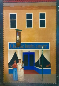 A Charis sign from the mid-70s depicting the original Moreland location and the founders. Credit: Kelly Jordan