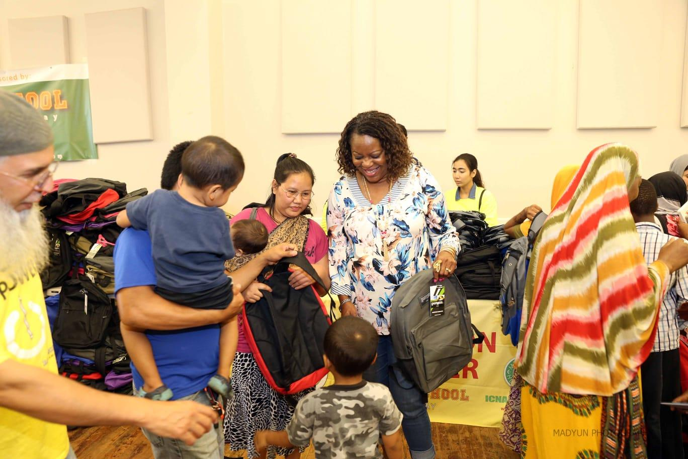 ICNA, backpacks distributed
