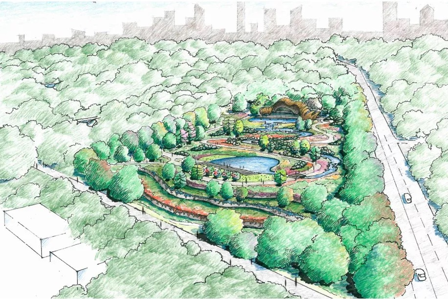 A sketch shows an idea for how to build out ponds, paths and landscape for a Piedmont Park expansion for which the city intends to buy property at Piedmont and Monroe. Credit: Handout