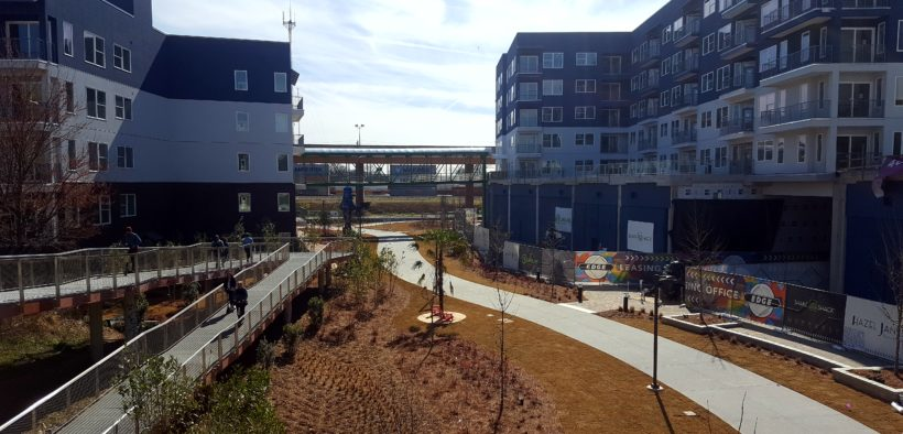 An image of the Beltline trail snaking through apartment developments.