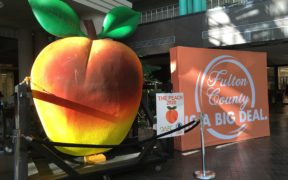 The giant peach on display at the Fulton County Government Center
