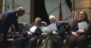 L-R on a stage: Fulton DA Paul Howard, former U.N. Ambassador and Atlanta Mayor Andrew Young, former Georgia Gov. Roy Barnes and new Fulton Conviction Integrity Unit Director Aimee Maxwell