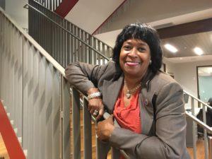 Gayle Holloman on stairs