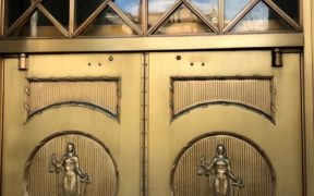 The doors of Georgia's old judiciary building depict blindfolded justice