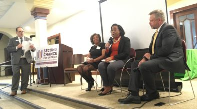 L-R: Doug Ammar from the Georgia Justice Project, Marilynn Winn from Women on the Rise, DeKalb DA Sherry Boston and John Helton from Atlanta CareerRise on a Feb. 10 panel discussion. Credit: Maggie Lee