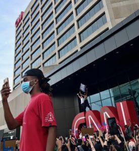 CNN, protesters