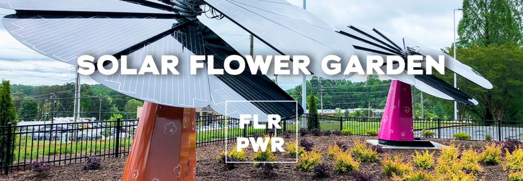 Solar panels arranged like flower petals in a Cobb EMC/Gas South garden.