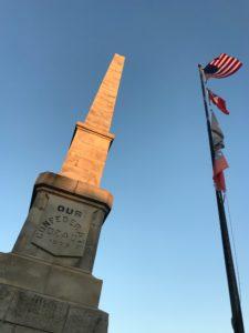 Oakland Confederate obelisk, flags