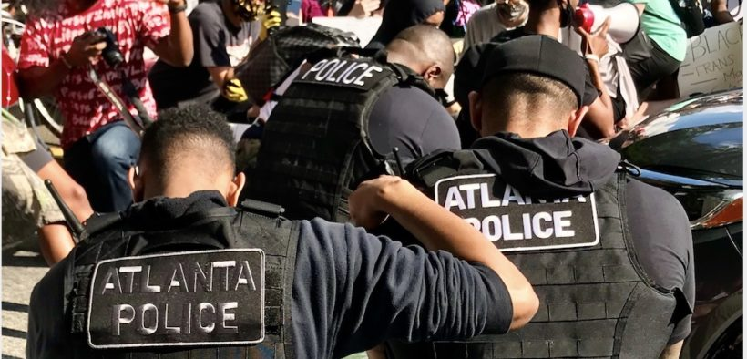 atlanta police take a knee protesters demonstrations