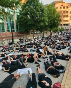 protest, die in at APD HQ