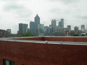 The view of today's downtown from the rooftop of the Burge Apartments.