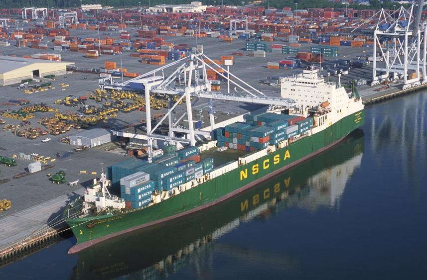 Cargo ship at Savannah Harbor