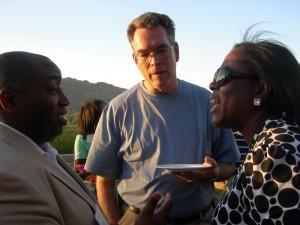 Atlanta City Councilman Ceasar Mitchell visits with Southface's Dennis Creech and DOT board member Dana Lemon