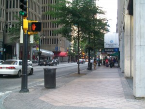 The view south from the corner of Peachtree Street and the newly named John Portman Boulevard at Historic Harris Street.  Credit: David Pendered