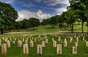 Marietta National Cemetery, with flag