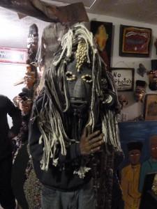 """Mr. Imagination"" Gregory Warnack wears a mask"