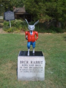 The restored Brer Rabbit statue, on its perch outside the Uncle Remus Museum in Eatonton. Credit: Putnam County Sheriff's Department