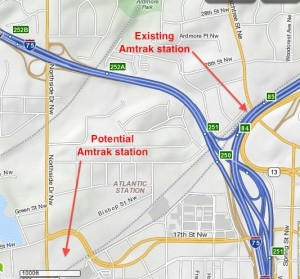 Amtrak station locations. Credit: Mapquest, David Pendered