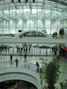 An interior shot of Calatrava's Gare de Oriente station in Lisbon, Portugal