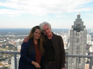 Enjoying the view of 191 Peachtree with my friend Kelin. Photo taken by 191 property manager.