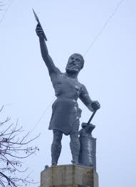 """The Vulcan statue in Birmingham carried the slogan, """"Iron is King,"""" when it was exhibited at the 1904 St. Louis World's Fair."""